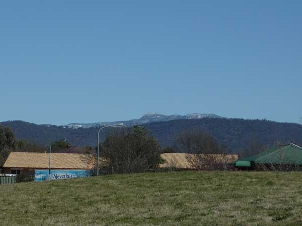 First glimpse of snow on the Brindabellas