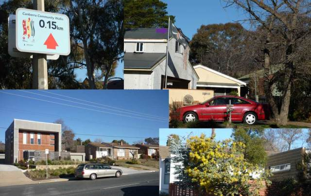 Clockwise: sign, pirate flag, wattle, boxy house