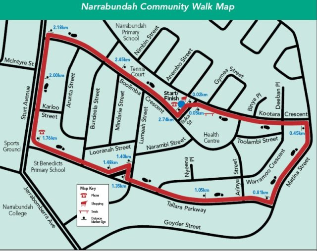 Map of the Narrabundah walk