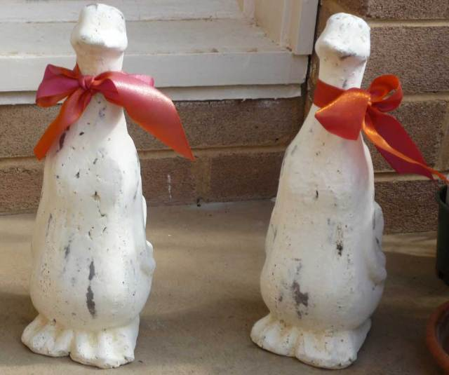 My ducks: two white statues of ducks, with orange neck ribbons