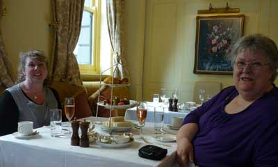 Fiona (my sister) and I having afternoon tea at the Windsor (Melbourne)