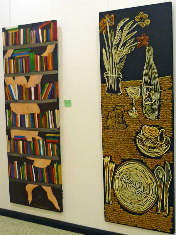 Two paintings: Happiness (cavorting with Books) and Loneliness (lunch on a black sunday)