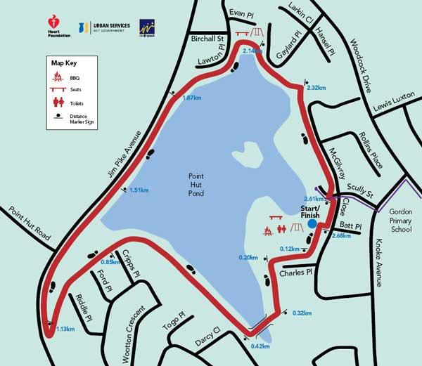 Map of the Point Hut Pond walk in Gordon