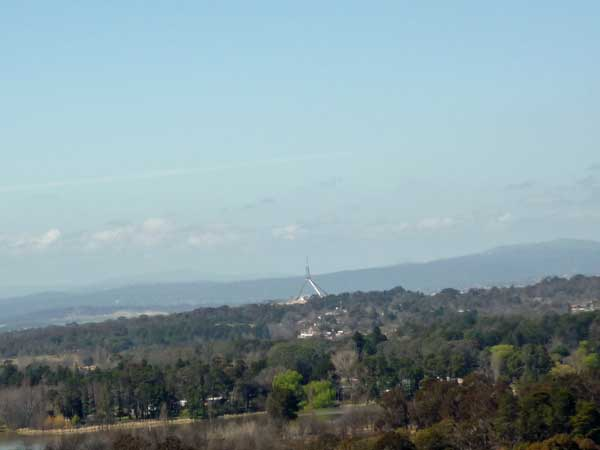 View of Parliament House from the National Arboretum, Canberra