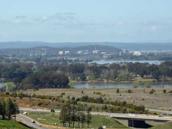 View towards Russell from the National Arboretum, Canberra