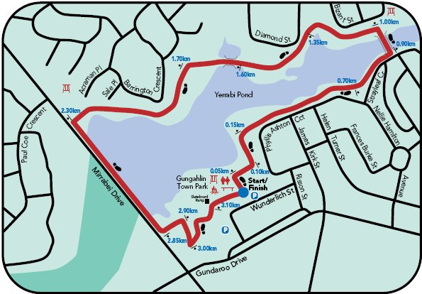 Map of the Yerrabi Pond walk