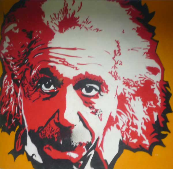 Wall-size painting of Einstein in red and white on an ochre background