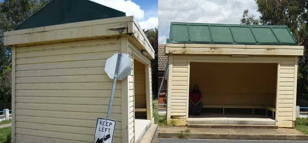Side and front shots of a weatherboard bus shelter built in 1928