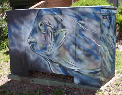 Power substation with street art