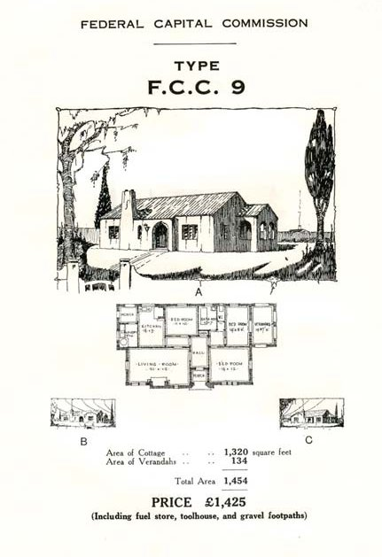 Federal Capital Commission house design & plan no. 9, from Reid heritage sign