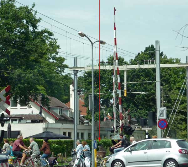 A busy level crossing in Holland, with cyclists, and a dog in a bike basket