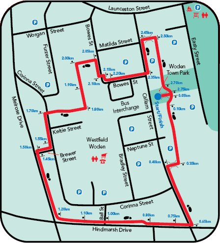 Map of the Woden Town Centre walk