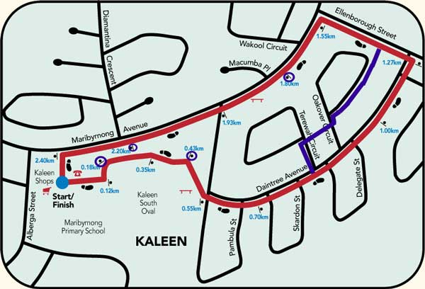 Map of the Canberra Community Walk in Kaleen, with added lines showing where we actually walked