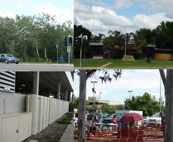 Scenes from Woden Town Centre: clockwise: corner park, fire station, Trash'n'Treasure market, water tanks