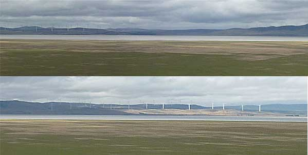 Two views of Lake George, showing the two sets of wind turbines visible from the Federal Highway