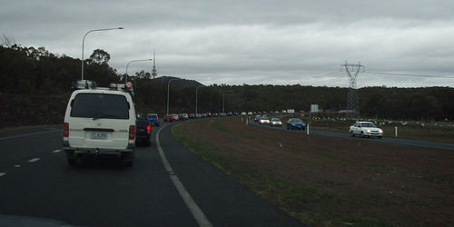 Traffic jam on Gungahlin Drive, before the roadworks