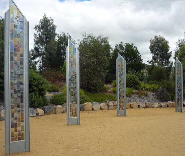 Glass columns containing photos