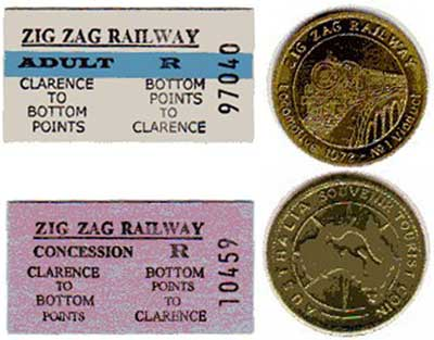 An adult and a concession ticket; front and back of the souvenir coin